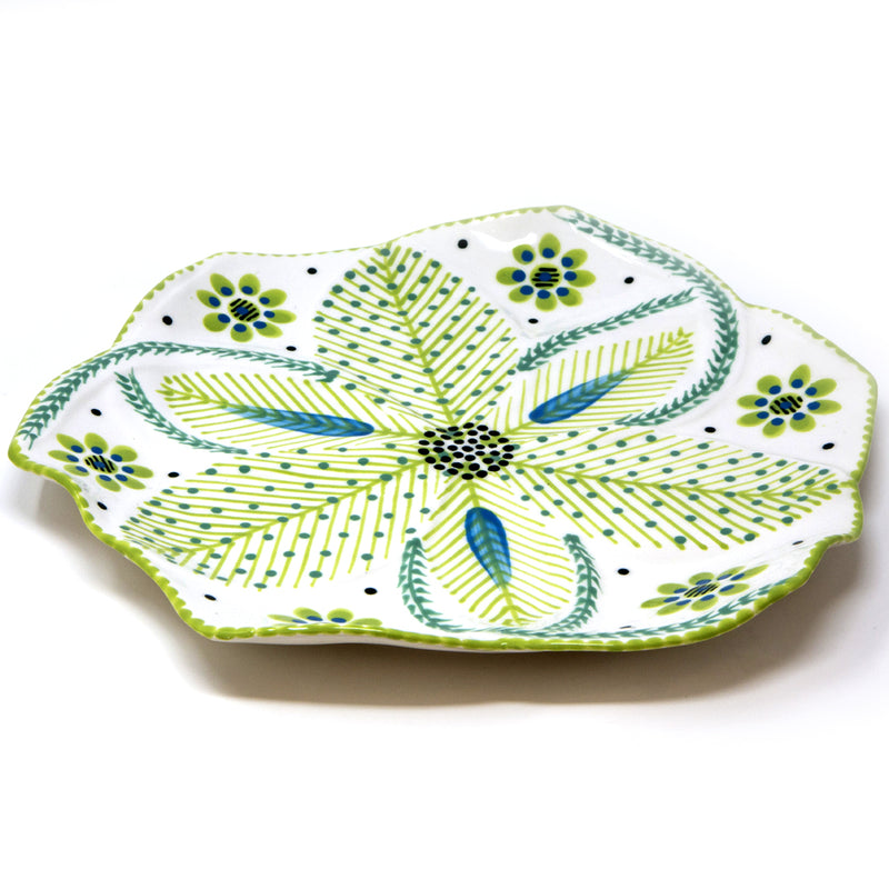 Twilly Dinner Plates - Bright Green Pattern