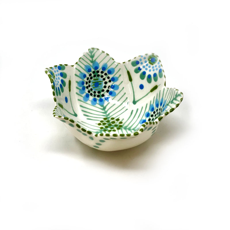 Twilly Petal Bowl - Juniper Green and Turquoise Pattern