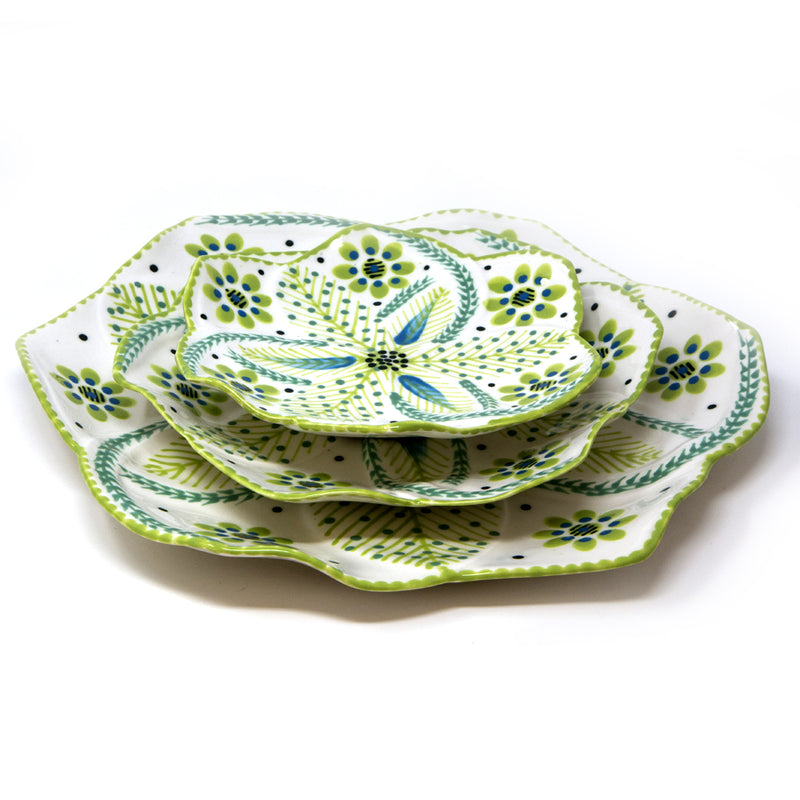 Twilly Cocktail Plates - Bright Green Pattern