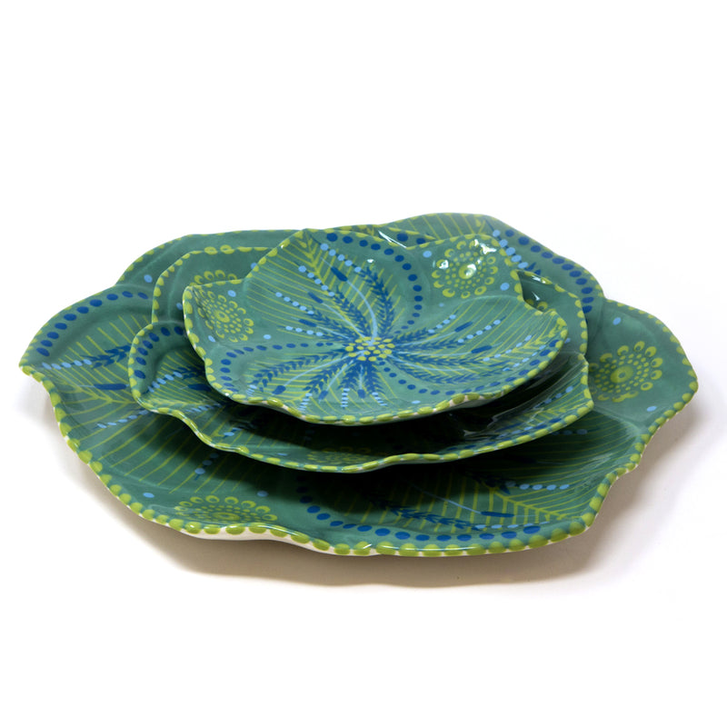 Twilly Dessert Plates - Juniper Green Pattern