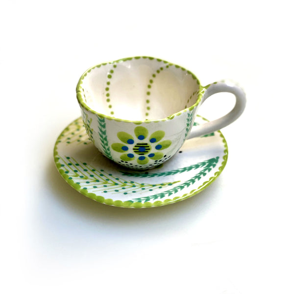 Twilly Coffee Cup - Bright Green Pattern