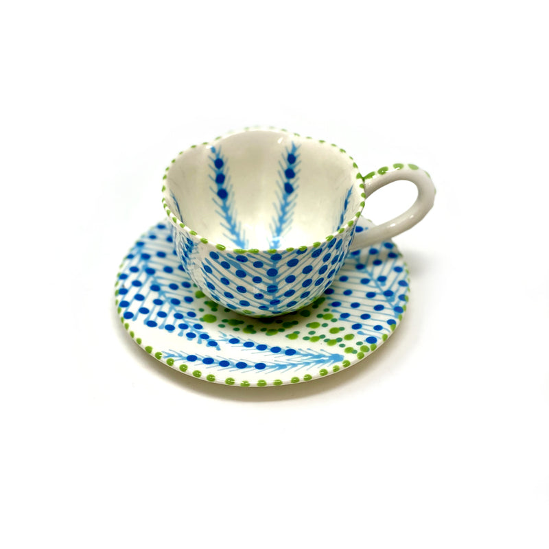 Twilly Coffee Cup - Turquoise, Blue and Green Pattern
