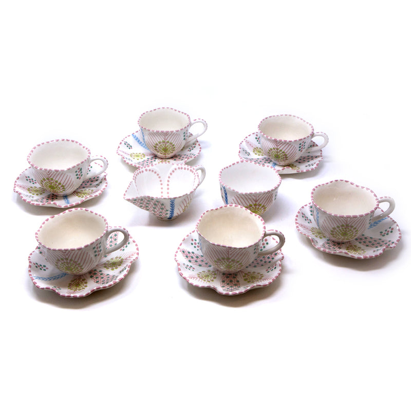 Twilly Tea Set - Light Coral Red Pattern