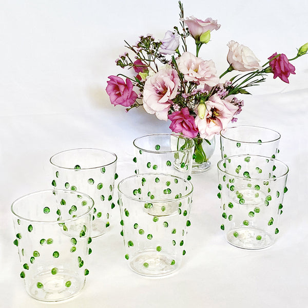 Tumbler Glass - Green Bubble