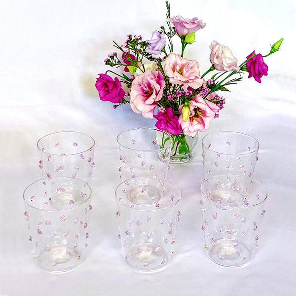 Tumbler Glass - Pink Bubble