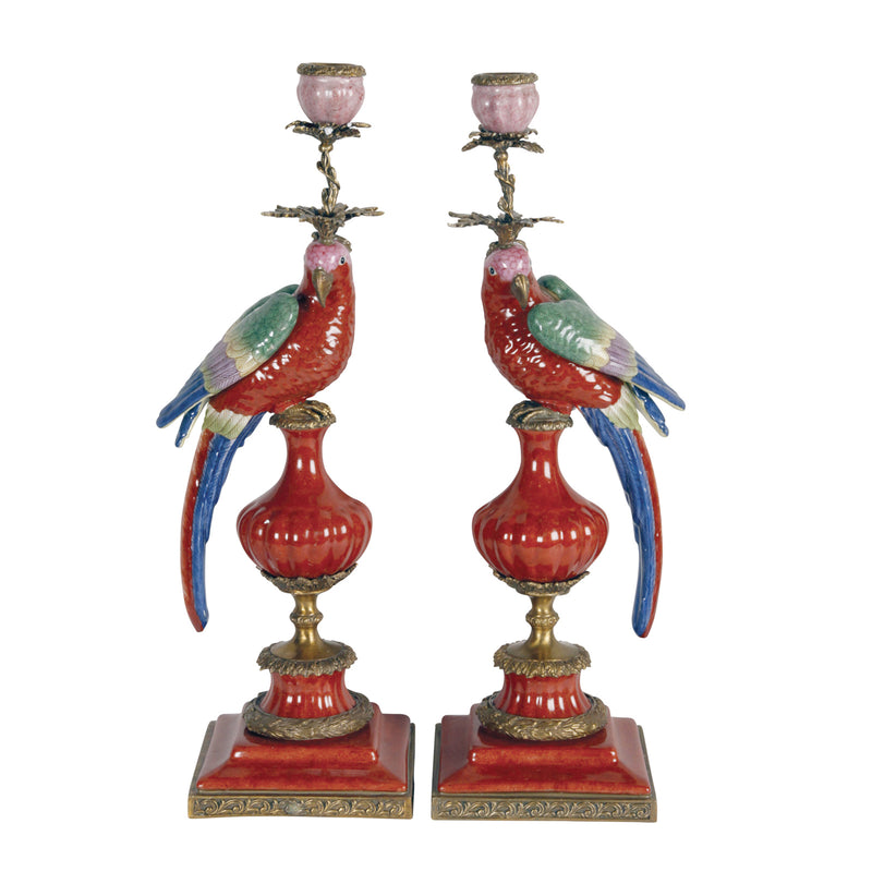 2 Red Parrots Candle Holders