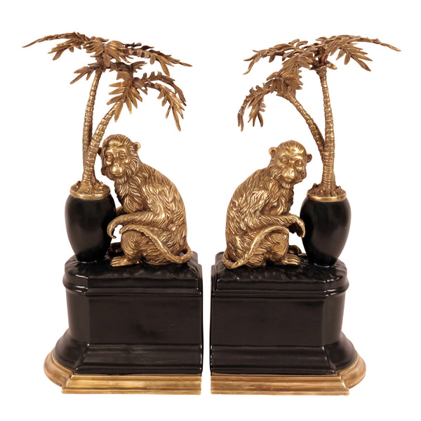Bronze Monkeys and Palms - Bookends
