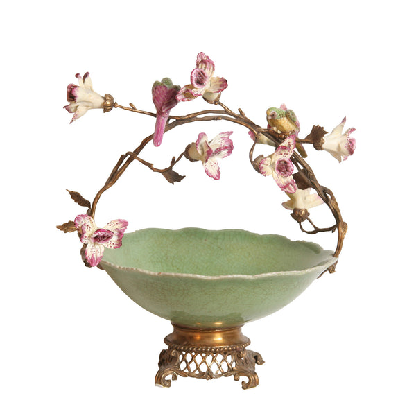 Green Bowl with Flowers