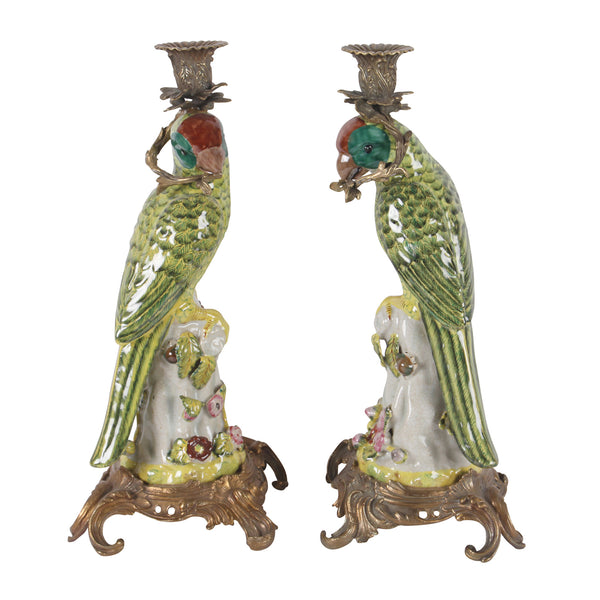2 Parrots Candle Holders