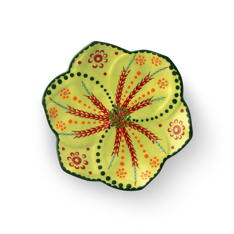 Twilly Festive Cocktail Plate - Green  Pattern