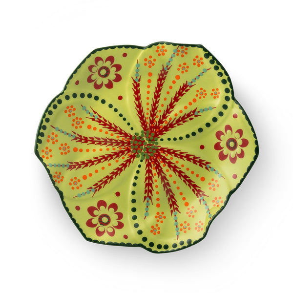 Twilly Festive Dessert Plate - Green Pattern