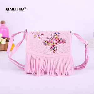 Baby Girl Cute Tassel Bags Diamond Butterfly Mini Shoulder Bags for children  girls School Bags Princess cross body clutch bag b070209759ce5