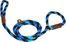 "Load image into Gallery viewer, Lone Wolf Products Lone Wolf 1/2"" Spiral Color Round Rope Dog Slip Lead - 6' only Black/Blue"