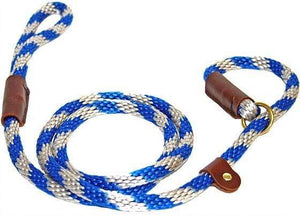 "Lone Wolf Products Lone Wolf 1/2"" Spiral Color Round Rope Dog Slip Lead - 6' only Blue/Silver"