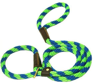 "Lone Wolf Products Lone Wolf 1/2"" Spiral Color Round Rope Dog Slip Lead - 6' only Lime Green/Pacific Blue"