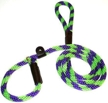 "Load image into Gallery viewer, Lone Wolf Products Lone Wolf 1/2"" Spiral Color Round Rope Dog Slip Lead - 6' only Lime Green/Purple"