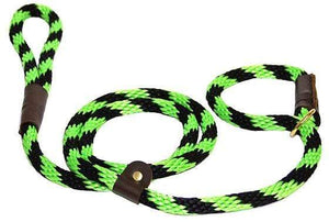 "Lone Wolf Products Lone Wolf 1/2"" Spiral Color Round Rope Dog Slip Lead - 6' only Lime Twist Lime/Black"