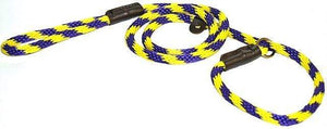 "Lone Wolf Products Lone Wolf 1/2"" Spiral Color Round Rope Dog Slip Lead - 6' only Purple/Yellow"