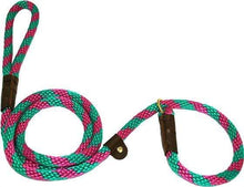 "Load image into Gallery viewer, Lone Wolf Products Lone Wolf 1/2"" Spiral Color Round Rope Dog Slip Lead - 6' only Raspberry Twist Raspberry/Green"