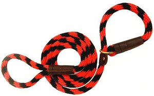 "Lone Wolf Products Lone Wolf 1/2"" Spiral Color Round Rope Dog Slip Lead - 6' only Red/Black"