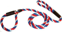 "Load image into Gallery viewer, Lone Wolf Products Lone Wolf 1/2"" Spiral Color Round Rope Dog Slip Lead - 6' only Red/White/Blue"