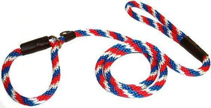 "Lone Wolf Products Lone Wolf 1/2"" Spiral Color Round Rope Dog Slip Lead - 6' only Red/White/Blue"