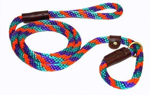 "Lone Wolf Products Lone Wolf 1/2"" Spiral Color Round Rope Dog Slip Lead - 6' only Teal/Purple/Orange"
