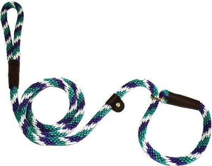 "Lone Wolf Products Lone Wolf 1/2"" Spiral Color Round Rope Dog Slip Lead - 6' only Teal/Purple/White"
