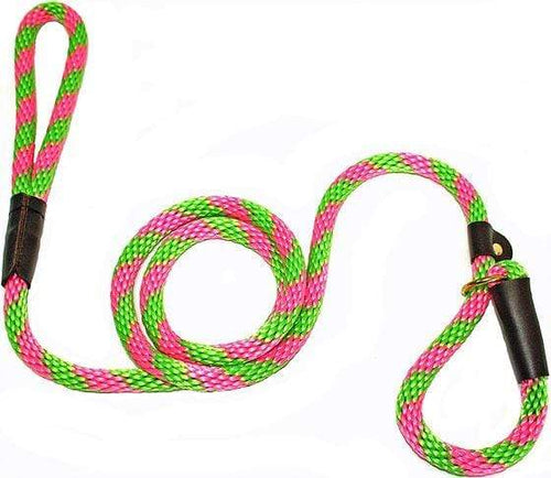 "Lone Wolf Products Lone Wolf 1/2"" Spiral Color Round Rope Dog Slip Lead - 6' only Watermelon Lime/Pink"
