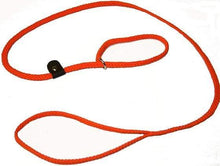 "Load image into Gallery viewer, Lone Wolf Products Lone Wolf 1/4"" Solid Color Flat Rope Dog Slip Lead - 6' only Orange"