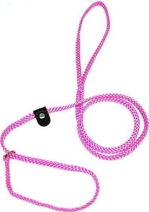 "Lone Wolf Products Lone Wolf 1/4"" Solid Color Flat Rope Dog Slip Lead - 6' only Pink"