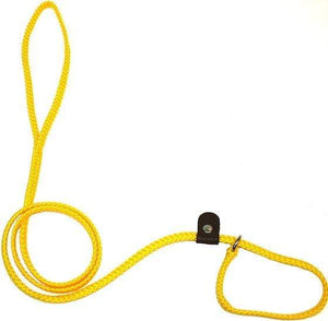 "Lone Wolf Products Lone Wolf 1/4"" Solid Color Flat Rope Dog Slip Lead - 6' only Yellow"