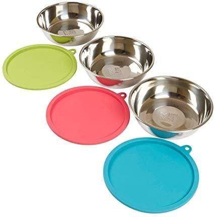 Messy Mutts Messy Mutts 6 Piece Dog Bowl Set - 3 Bowls with 3 Lids