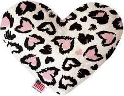 "Mirage Pet Products Valentine's Day Heart Stuffed Dog Toy 6"" / Pink Leopard Hearts"