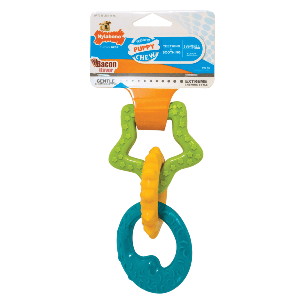 Nylabone Nylabone Teething Puppy Rings Puppy Chew Toy - up to 25 lbs. - Bacon Flavor
