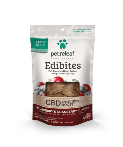 Pet Releaf Pet Releaf Large Breed Blueberry Cranberry Edibites CBD Immunity Boost Treats for Dogs