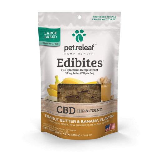Pet Releaf Pet Releaf Large Breed Peanut Butter Banana Edibites CBD Hip & Joint Treats for Dogs