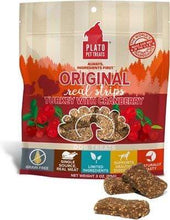 Load image into Gallery viewer, Plato Plato Original Turkey with Cranberry Real Strips Dog Treats 3 oz. bag