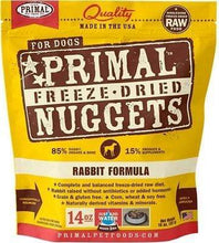 Load image into Gallery viewer, Primal Pet Foods Primal Rabbit Nuggets Grain-Free Raw Freeze-Dried Dog Food 14 oz.