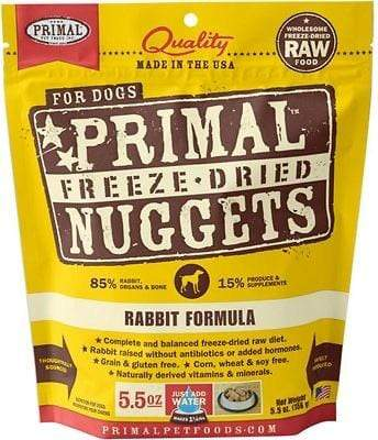 Primal Pet Foods Primal Rabbit Nuggets Grain-Free Raw Freeze-Dried Dog Food 5.5 oz.