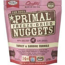 Load image into Gallery viewer, Primal Pet Foods Primal Turkey & Sardine Nuggets Grain-Free Raw Freeze-Dried Dog Food 14 oz.