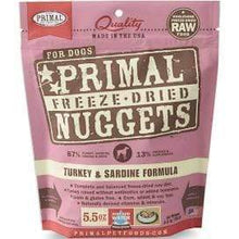 Load image into Gallery viewer, Primal Pet Foods Primal Turkey & Sardine Nuggets Grain-Free Raw Freeze-Dried Dog Food 5.5 oz.