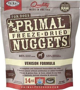 Primal Pet Foods Primal Venison Nuggets Grain-Free Raw Freeze-Dried Dog Food 14 oz.