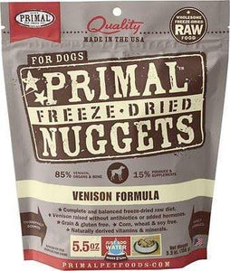 Primal Pet Foods Primal Venison Nuggets Grain-Free Raw Freeze-Dried Dog Food 5.5 oz.