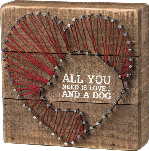 Primitives by Kathy All You Need is Love - String Art Box Sign