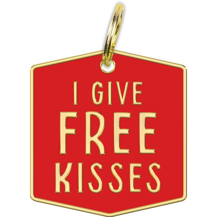 Primitives by Kathy I Give Free Kisses Dog Collar Charm