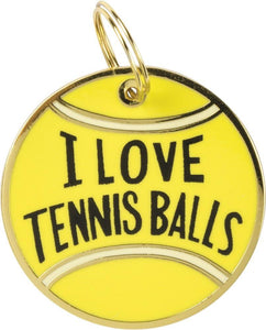 Primitives by Kathy I Love Tennis Balls Dog Collar Charm