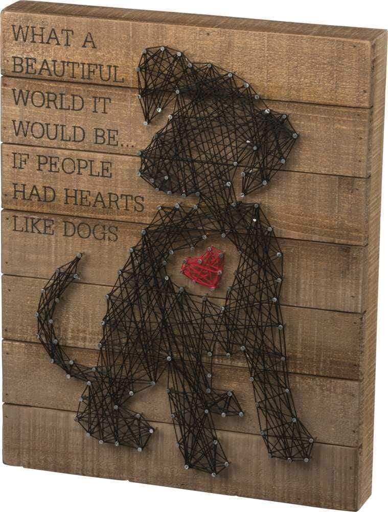 Primitives by Kathy What a Beautiful World - String Art Box Sign