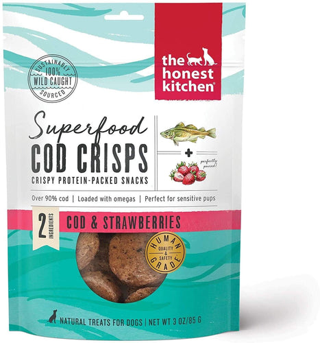 The Honest Kitchen The Honest Kitchen Superfood Cod Crisps Cod & Strawberry Dehydrated Dog Treats - 3 oz. bag