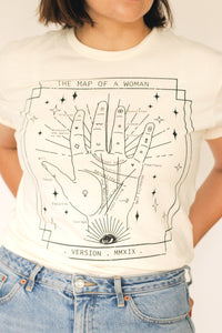 Palm reading, feminist tee, vintage palmistry, palm reading illustration, womans tee, womens empowerment
